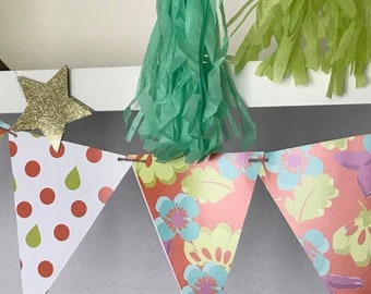 FLOWER PAPER GARLAND, Party Decor,Paper Bunting,  Bright Color Garland, Double-Sided Paper Bunting, Pressed Flower Style