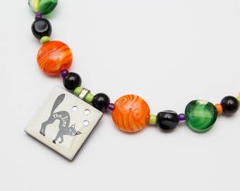 Black Cat Halloween Necklace