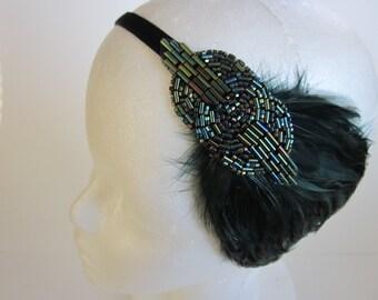 Green 1920s headband, green feather headpiece, beaded fascinator, flapper, Art Deco beaded headband, great gatsby headpiece, green feather
