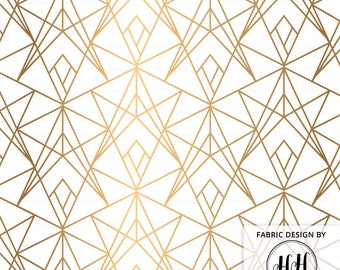 Gold Fragments Fabric By The Yard - Geometric Modern Fabric - Abstract Print in Yard & Fat Quarter