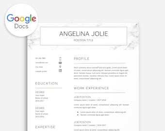 Resume Marble Gold, Resume Template Marble, Resume Template Gold, Resume Template Google Doc Marble, Google Doc Gold, Resume Cover Letter