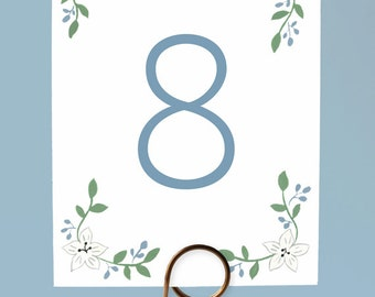 White Flower Table Numbers, Pretty Table Numbers, Wedding Table Numbers, Cute Table Numbers, Floral Wedding Table Numbers, Printed Cards