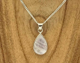 Rainbow Moonstone Pendant - Sterling Silver
