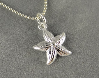 Silver Starfish Necklace - Nautical Theme - Beach Jewelry - Summer Jewelry