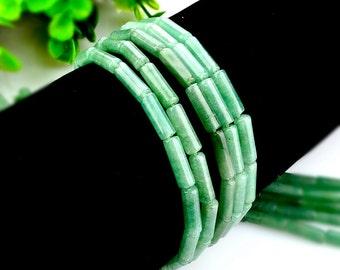15Pcs - 4x13mm Green Aventurine Beads, Tube Beads, cylinder beads, Genuine Natural Stone beads