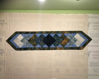 Rreversible Diamond homemade quilted table runner 71 1/2 inches long by 15 3/4 inches wide.