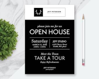 Open house invite etsy printable digital file made to order open house invitation modern retro invitation daycare stopboris Images