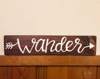 Wood Sign Wall Decor - wander  16 x 3.5 inches