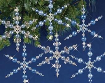 Crystal / Blue Snowflakes Beaded Christmas Ornament Kit (NC004)