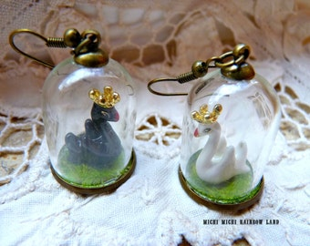 Black or White Swan Ceramic Glass Globe Necklace or Earrings - Gift box included