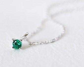 Tiny Emerald Necklace 925 Sterling Silver May Birthstone Emerald Charm Pendant