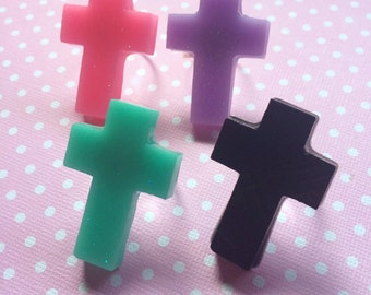 Pastel Goth Cross Ring / Resin Ring / Gothic Cross Jewelry / Pastel Cross / Creepy Cute / Fairy kei / Resin Jewelry / Cross Jewelry