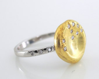 Gold Ring - Crystal Ring - Mixed Metal Ring - Constellation Ring - Silver Ring - Moon Ring and Star Jewelry - handmade jewelry