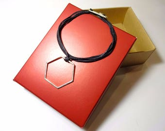 Sterling Silver Geometric Necklace Wax Cord Unisex Geometric Jewelry