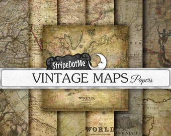Vintage Maps Digital Paper Pack Europe, Asia, Africa, America, Old World, Antique Maps Commercial Use 00090