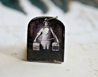 Victorian photo necklace, Pendant necklace, Photo pendant, Photo necklace, Antique photo, Vintage photo, Sepia photograph, Man with boxes