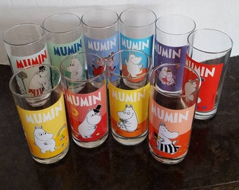 Moomin Drinking Glasses for lemonades and cocktails Vintage Finnish Mumin motifs from the books of Tove Jansson