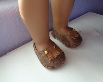 Light Brown Faux Leather Shoes for -18 Inch BOY-Doll Shoes-American Girl-Boy Dolls