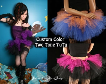 Custom Color Layered two tone tutu skirt gothic adult dance run race dance club gogo mini - You Choose Size and Color - Sisters of the Moon