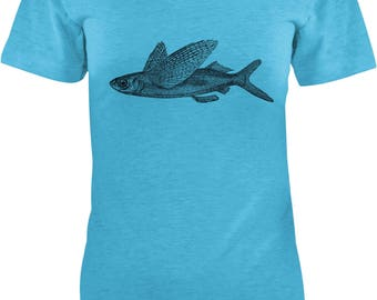 Austin Ink Apparel Slim Fit Flying Fish Soft Triblend Short-Sleeve T-Shirt