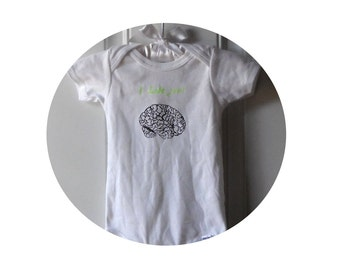 """Baby Bodysuit, Zombie Brains """"I Lobe You"""", cotton infant creeper, one piece snapsuit, white, unisex baby clothes, Hand Printed, Screenprint"""