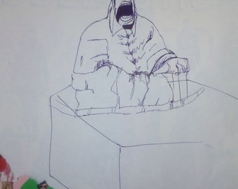 Screaming Pope Sketch in Ink after Francis Bacon