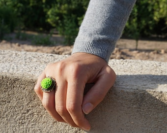 Green cameo ring Neon ring Green statement ring Llime green jewelry Dahlia flower rings Flower statement ring adjustable Dahlia jewelry