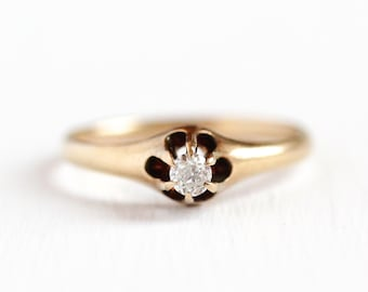 Sale - Antique Diamond Ring - Size 7 3/4 14k Rosy Yellow Gold Old European 1/10 CT Belcher - Solitaire Engagement Promise Fine Jewelry