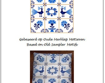 Delft Blue Tiles with Peacocks and Flowers