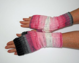 Hand Knit Fingerless Mitts, Fingerless Gloves, Texting Gloves, Hand Warmers in Pink, White and Grey, Gift for Her, Stocking Stuffer