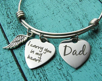 memorial gift dad, loss of father, sympathy gift father, I carry you in my heart memorial bracelet, in loving memory dad, remembrance gift