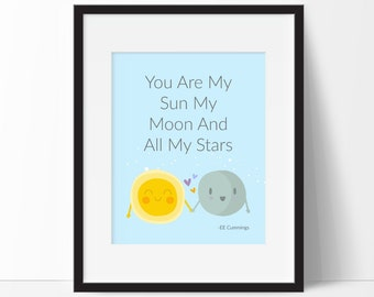 You Are My Sun, My Moon, and All My Stars, Nursery Print, Kids Bedroom Art, Kids Weather Room Decor