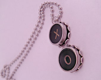 Hugs and Kisses X O Vintage Typewriter Key Necklace with 18 Inch Ballchain