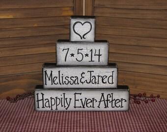Wedding Anniversary personalized wood block set hand painted table decor primitive shelf sitter wedding gift
