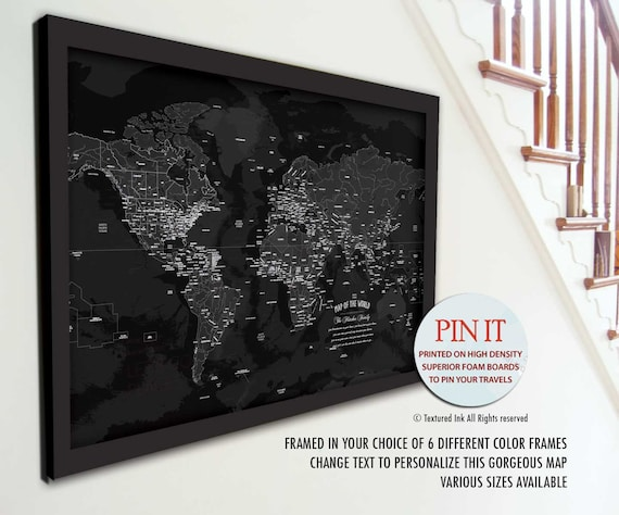 Map push pin map framed pin map black and white map world like this item gumiabroncs Gallery