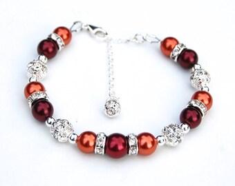 Dark Red and Burnt Orange Bracelet, Bridesmaid Jewelry, Red Orange Wedding, Fall Wedding Jewelry, Under 30, Bridesmaid Gifts, Autumn Jewelry