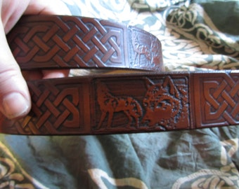 Customizable 1 1/2 inch, Large Celtic Design Leather Work or Casual Belt