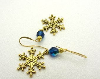 Snowflake Earrings Blue and Gold Christmas Snowflake Earrings Winter Earrings Dangle Drop Earrings Snowflake Jewelry SRAJD