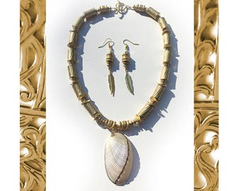 Poseidon's Feathers: Gold vermeil, Baltic abalone, African brass. Necklace and earring set.