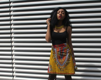 African Wrap Skirt Mini Skirt  African Print Skirt Dashiki Wrap Skirt Wax Print Skirt Continent Clothing Festival Skirt Dashiki Skirt