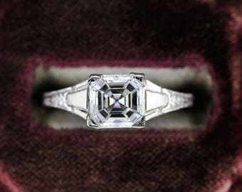Asscher Cut Diamond, GIA Certified, in Art Deco Architectural Engagement Ring, 18 Karat White Gold ZMD6V3-P
