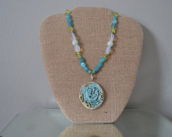 JADE HEMIMORPHITE BEADED Necklace Ceramic Face Pendant Necklace