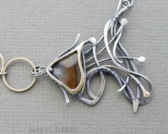 Sterling Silver pendant with Agate - Fish