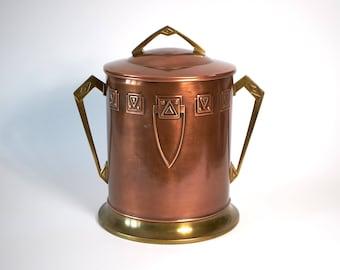 Large antique 1900s Art Nouveau Jugendstil Georg Leykauf copper and brass ice bucket / wine bottle cooler