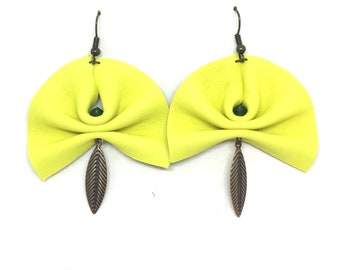 leather pleated yellow, bronze color charms and green beads earrings