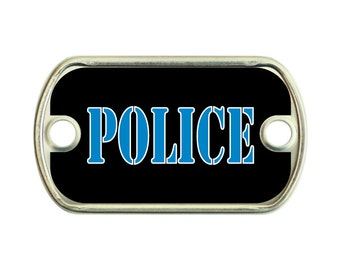 Police 2 Holes Stainless Steel Mini Dog Tag For Paracord Bracelets
