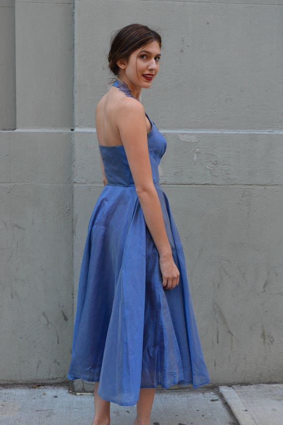 party 50s dress Silk blue extra Organza Blue Cornflower iridescent party vintage 1950s dress 1950s small dress qggw6xOF