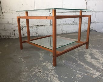 Danish mod architectural teak and glass side / end table