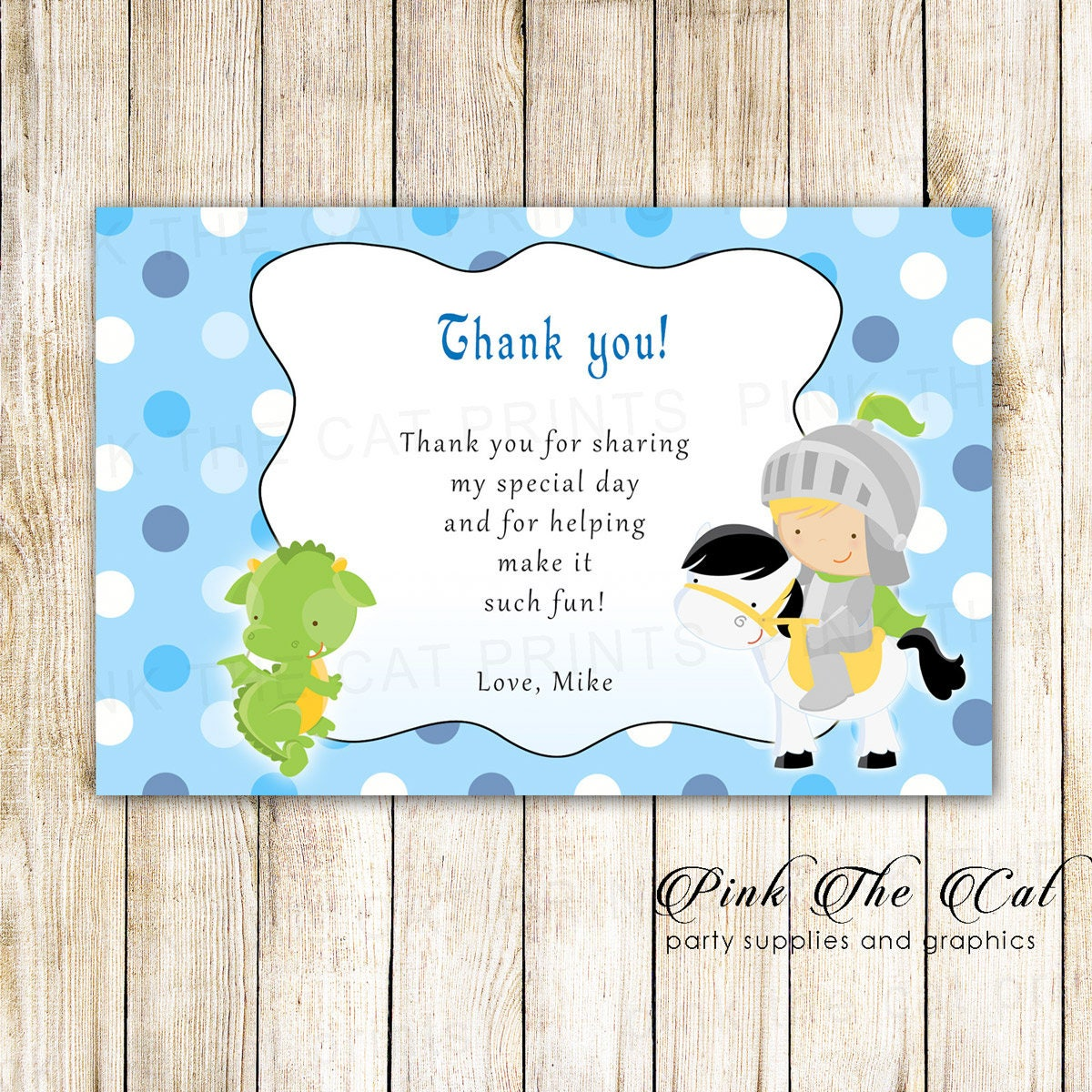 Knight dragon thank you card prince dragon thank you note request a custom order and have something made just for you kristyandbryce Choice Image