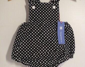 Black Polka Dot 1950's Style Baby Romper